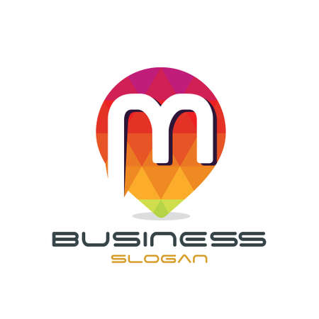Letter M Map Logo Stock Illustratie