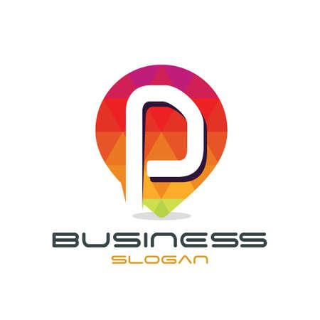 Letter P Map Logo