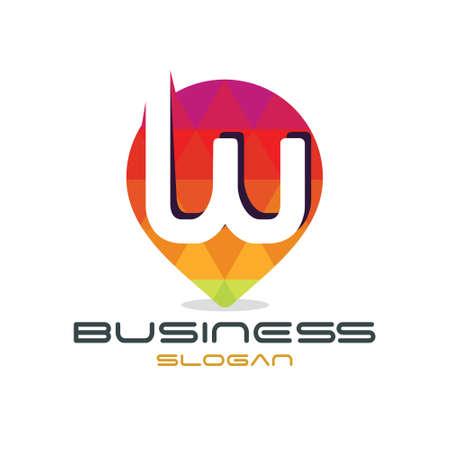 Letter W Map Logo