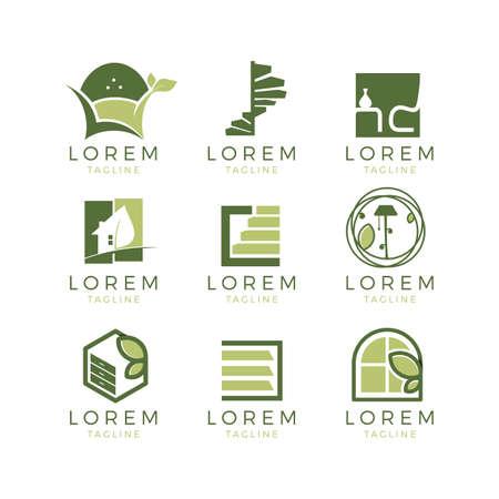 Meubels logo-set Stock Illustratie