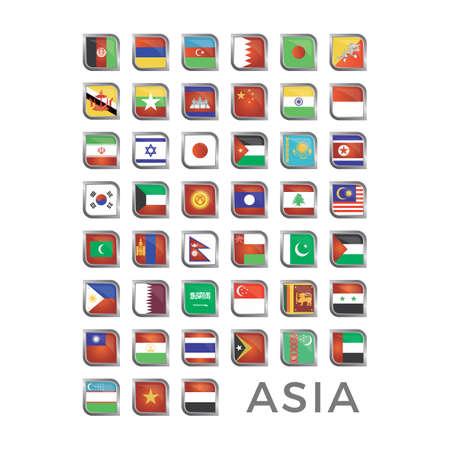 アジアの旗のアイコン  イラスト・ベクター素材