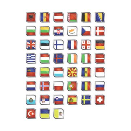 Europe flag icons Ilustração
