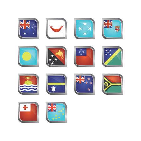 Oceania flag icons Ilustração