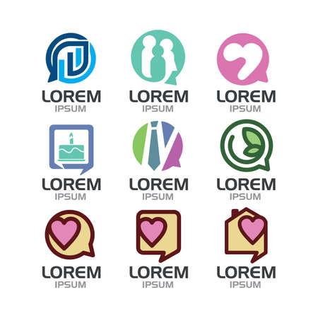 Set of 9 bubble chat icon. Ilustrace