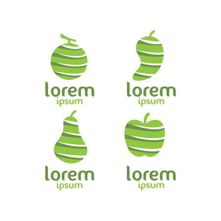 Lorem 果物のアイコン。  イラスト・ベクター素材