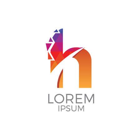 Colorful Letter h Logo Vettoriali