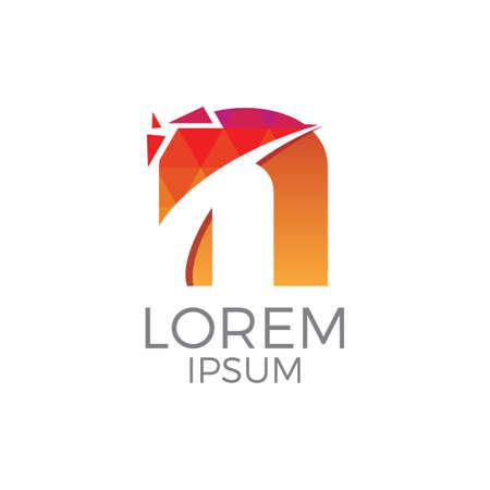 Colorful Letter n Logo Vettoriali