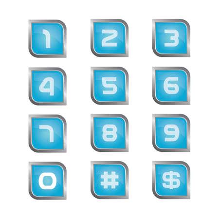 番号ボタン  イラスト・ベクター素材