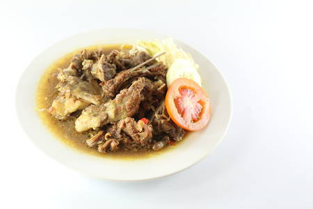 Meat soup and plate