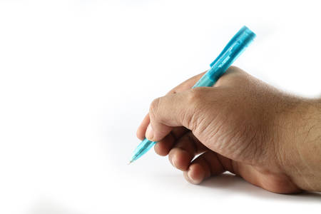 Hand and pen Archivio Fotografico