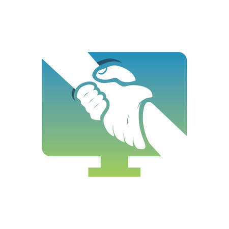 A computer care icon on white background, vector illustration.