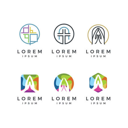 Colorful church logo set. Vectores