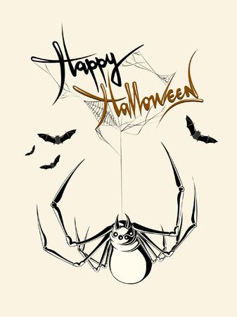 Hand getrokken Halloween-spin, spinneweb, knuppel, eng, vakantie, vectorillustratie Stock Illustratie