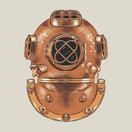 Antique heavy brass or copper diving helmet vector illustration. Vintage scuba suit part, industrial diver equipment for deep-sea diving. Engraving sketch