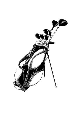 Croquis dessiné main de sac de golf en noir isolé sur fond blanc.