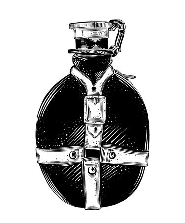 Hand drawn sketch of travel flask in black isolated on white background. Detailed vintage style drawing. Vector illustration. Çizim