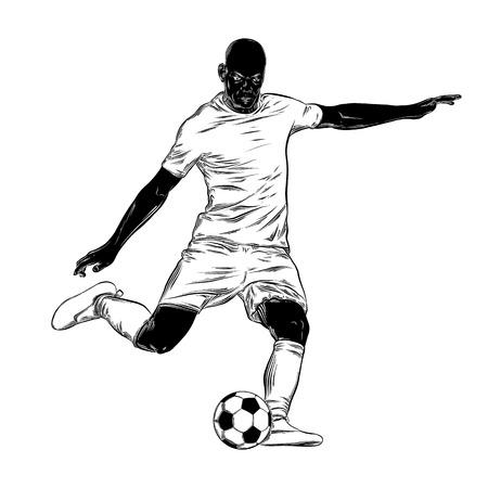Boceto dibujado a mano de futbolista en negro aislado sobre fondo blanco. Dibujo detallado de estilo vintage. Ilustración para carteles e impresión.