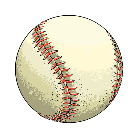 Hand drawn sketch baseball ball in color, isolated on white background. Detailed drawing in the style of vintage. Vector illustration