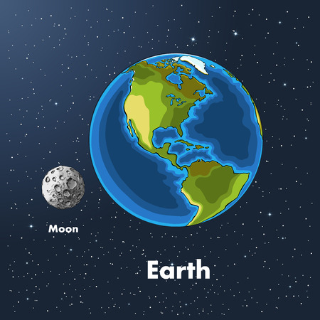 Hand drawn sketch of the planet earth and moon in color, against the background of space. Detailed drawing in the style of the harvest. Vector illustration