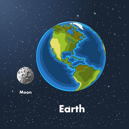 Schizzo disegnato a mano del pianeta terra e della luna a colori, sullo sfondo dello spazio. Disegno dettagliato nello stile del raccolto. Illustrazione vettoriale