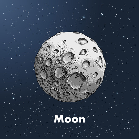 Hand-drawn sketch of moon in color, against a background of space. Detailed drawing in the style of vintage. Vector illustration.