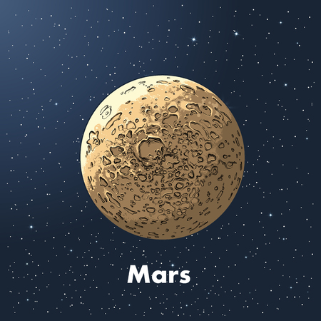 Hand drawn sketch of planet mars in color, against a background of space. Detailed drawing in the style of vintage. Vector illustration. Illustration