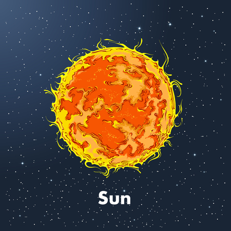 Hand drawn sketch of the sun in color, against a background of space. Detailed drawing in the style of vintage. Vector illustration.