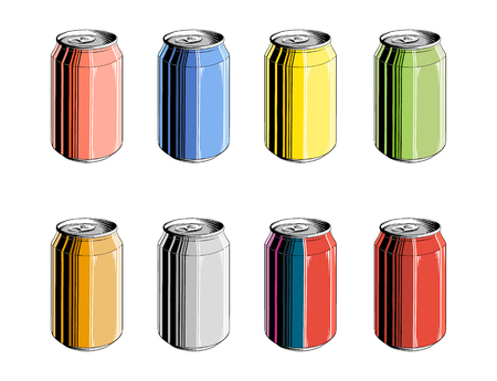 Set of aluminum can in color, isolated on white background. Detailed vintage style drawing, for posters, decoration and print. Hand drawn sketch. Vector illustration. Illustration