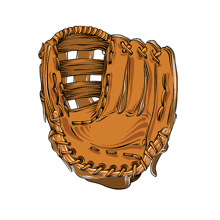 Hand drawn sketch of baseball glove in color isolated on white background. Detailed vintage style drawing, for posters, decoration and print. Vector illustration.
