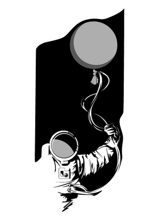 Hand drawn astronaut with a balloon in his hand on black background. For posters, decoration and print. Vector illustration.