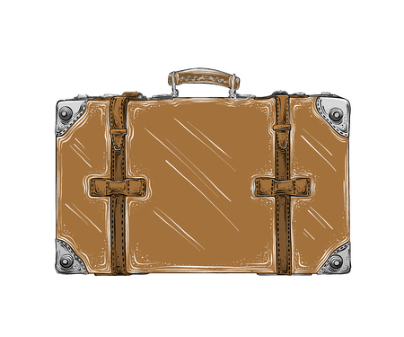 Hand drawn sketch of retro suitcase in brown color isolated on white background. Detailed vintage style drawing. Vector illustration.