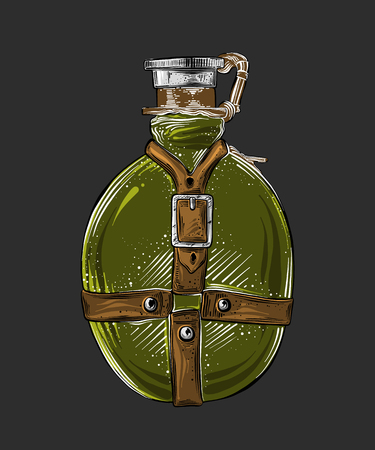 Hand drawn sketch of travel flask in green color isolated on gray background. Detailed vintage style drawing. Vector illustration.