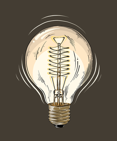 Hand drawn sketch of lightbulb in color isolated on dark background. Detailed vintage style drawing. Vector illustration.