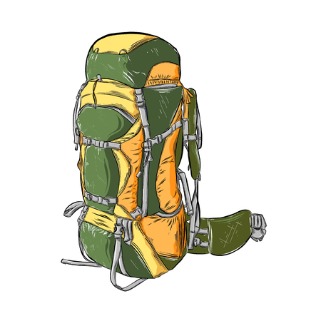 Hand drawn sketch of camping backpack in color isolated on white background. Detailed vintage style drawing. Vector illustration. Illustration