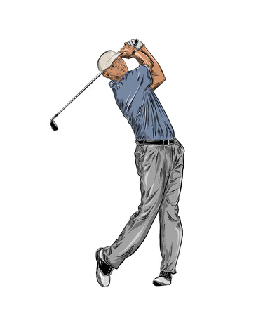 Hand drawn sketch of golfer in color isolated on white background. Detailed vintage style drawing. Vector illustration Illusztráció