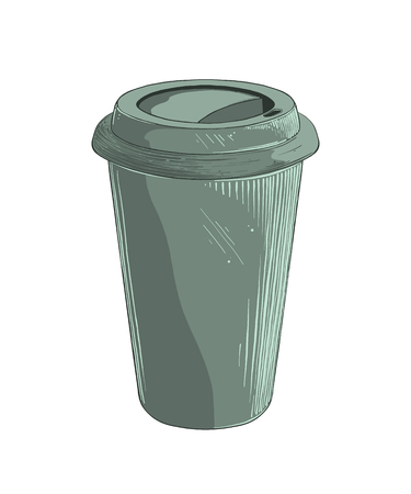 Hand drawn sketch of disposable cup in green color isolated on white background. Vector illustration.