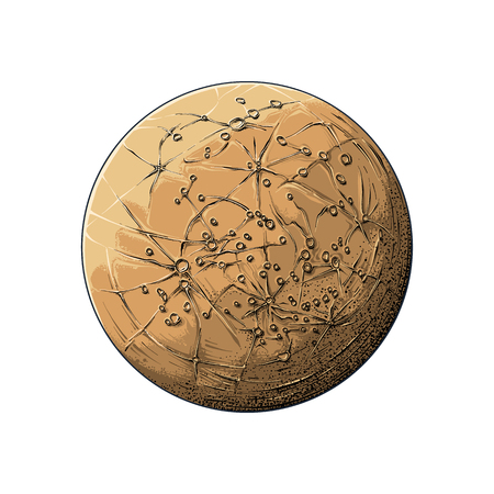 Hand drawn sketch of planet mercury in color, isolated on white background. Detailed drawing in the style of vintage. Vector illustration.