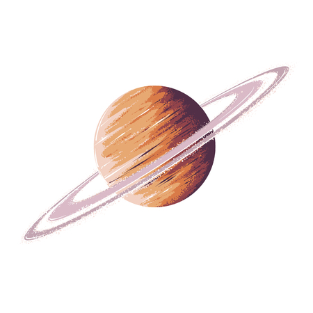 Hand drawn sketch of planet saturn in color, isolated on white background. Detailed drawing in the style of vintage. Vector illustration. Illustration
