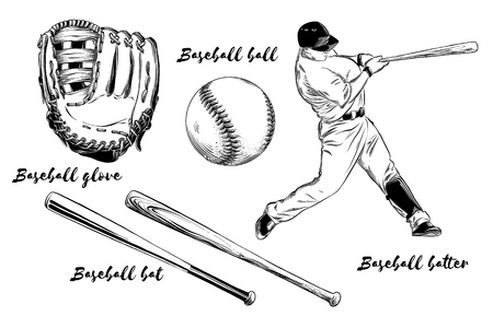 Isolated baseball set on white background. Hand-drawn elements such as baseball player, glove, bat and ball. Vector illustration