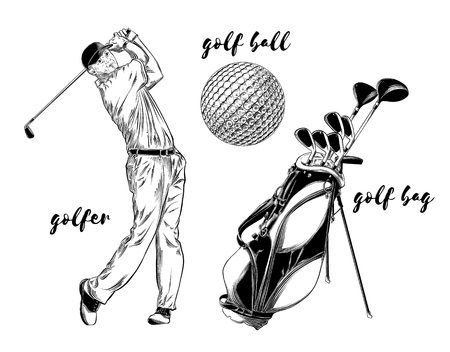 Isolated golf set on white background. Hand-drawn elements such as golfer, golf ball and golf bag. Vector illustration