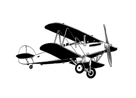 Hand drawn sketch of biplane aircraft in black color. Isolated on white background. Drawing for posters, decoration and print. Vector illustration.