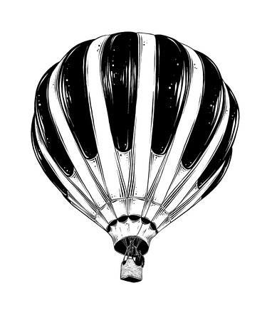 Hand drawn sketch of Hot Air Balloon in black isolated on white background. Detailed vintage style drawing. Illustration for posters and print.