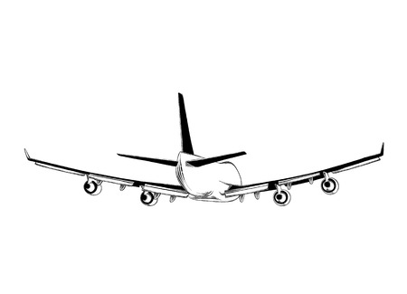 Hand drawn sketch of aircraft in black isolated on white background. Detailed vintage style drawing. Illustration for posters and print. Illustration