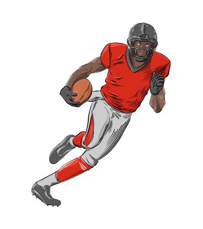 Hand drawn sketch of American football player in color, isolated on white background. Detailed vintage style drawing. Vector illustration. 矢量图像