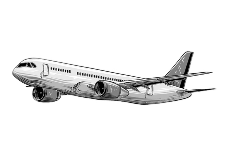 Hand drawn sketch of aircraft in gray color isolated on white background. Detailed vintage style drawing. Illustration for posters and print.