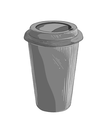 Hand drawn sketch of disposable cup in gray color, isolated on white background. Vector illustration. Illustration