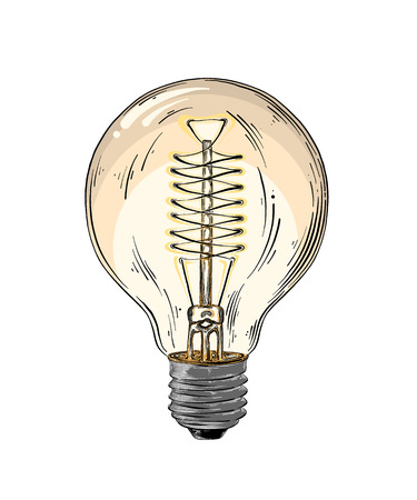 Hand drawn sketch of lightbulb in color isolated on white background. Detailed vintage style drawing. Vector illustration.