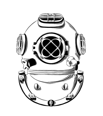 Vector drawing of diving helmet in black color, isolated on white background. Graphic illustration, hand drawing. Drawing for posters, decoration and print. Vector illustration.