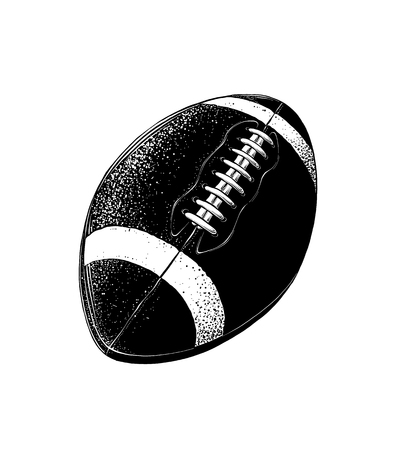 Vector drawing of rugby ball in black color, isolated on white background. Graphic illustration, hand drawing. Drawing for posters, decoration and print. Vector illustration Vetores