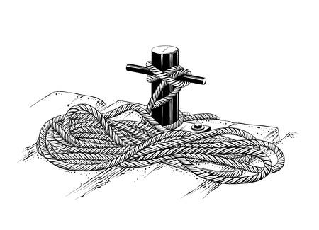 Dibujo vectorial de cuerda de amarre en color negro, aislado sobre fondo blanco. Ilustración gráfica, dibujo a mano. Dibujo para carteles, decoración e impresión. Ilustración vectorial.